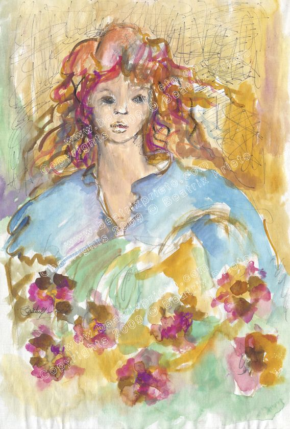 Niña coon Flores, Girl with flowers